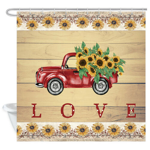 Details about  /Red Pickup Truck and Sunflower Shower Curtain Bathroom Decor Fabric /& 12 Hooks