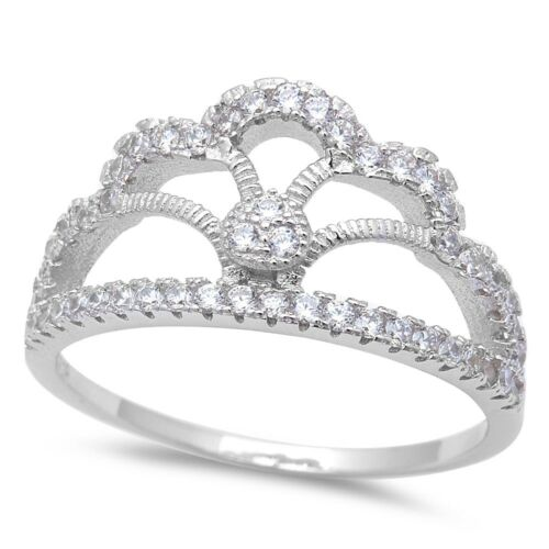Micro Pave Zircone cubique Couronne .925 Sterling Silver Ring Taille 5-10