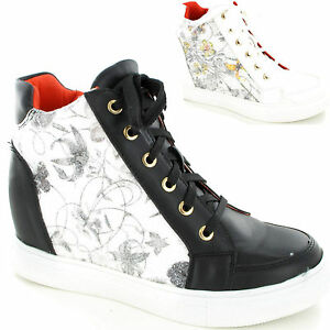 Amazing Ladies Womens High Top Wedge Heel Trainer Platform Lace Up Shoe Size