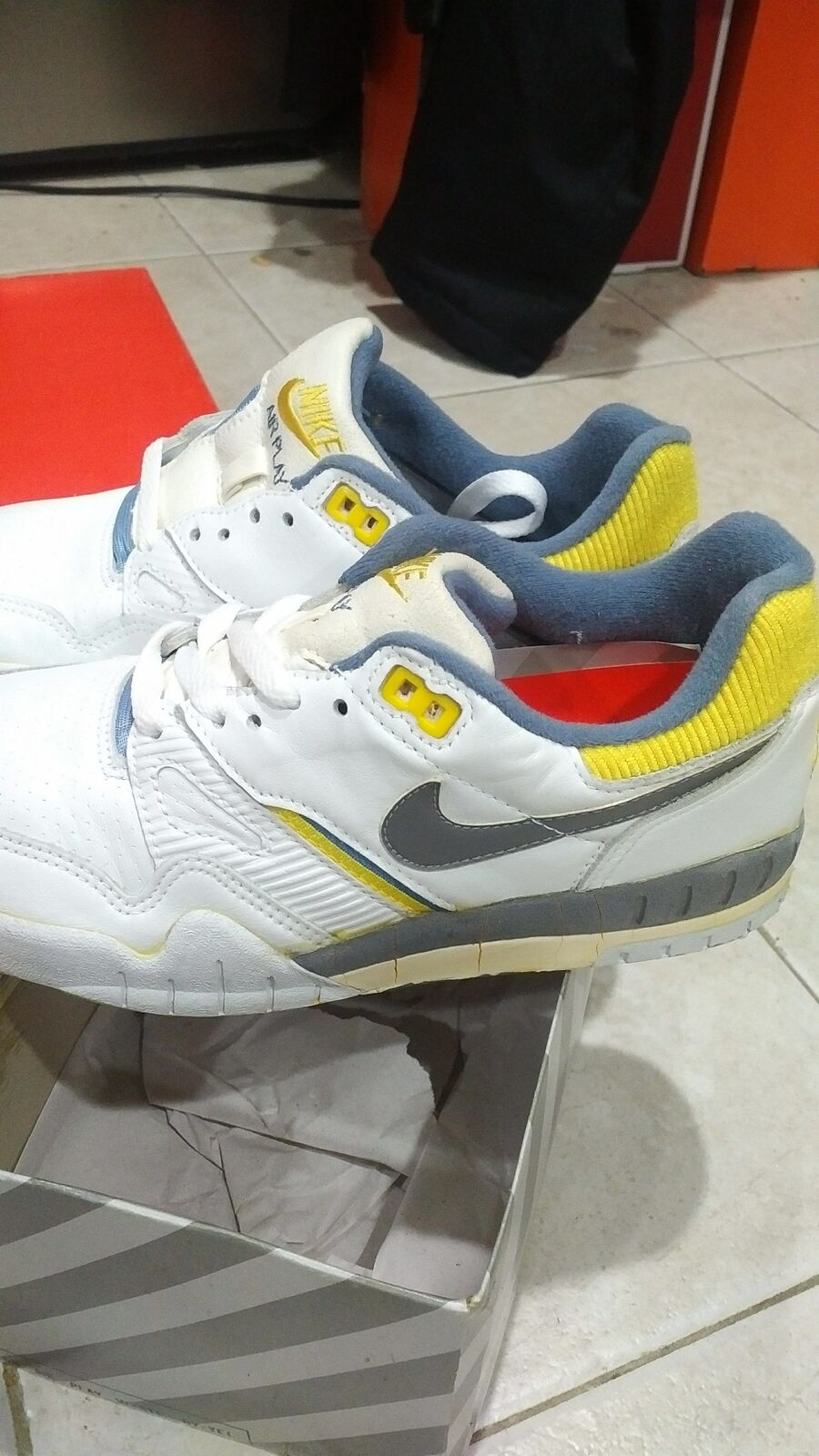 Vintage Nike Air Play White/Gray/Yellow Sneakers Shoes Men size 7 The most popular shoes for men and women