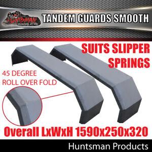 Pair-Tandem-Axle-Smooth-Trailer-Caravan-Mudguards-250mm-Suits-Slipper-Springs