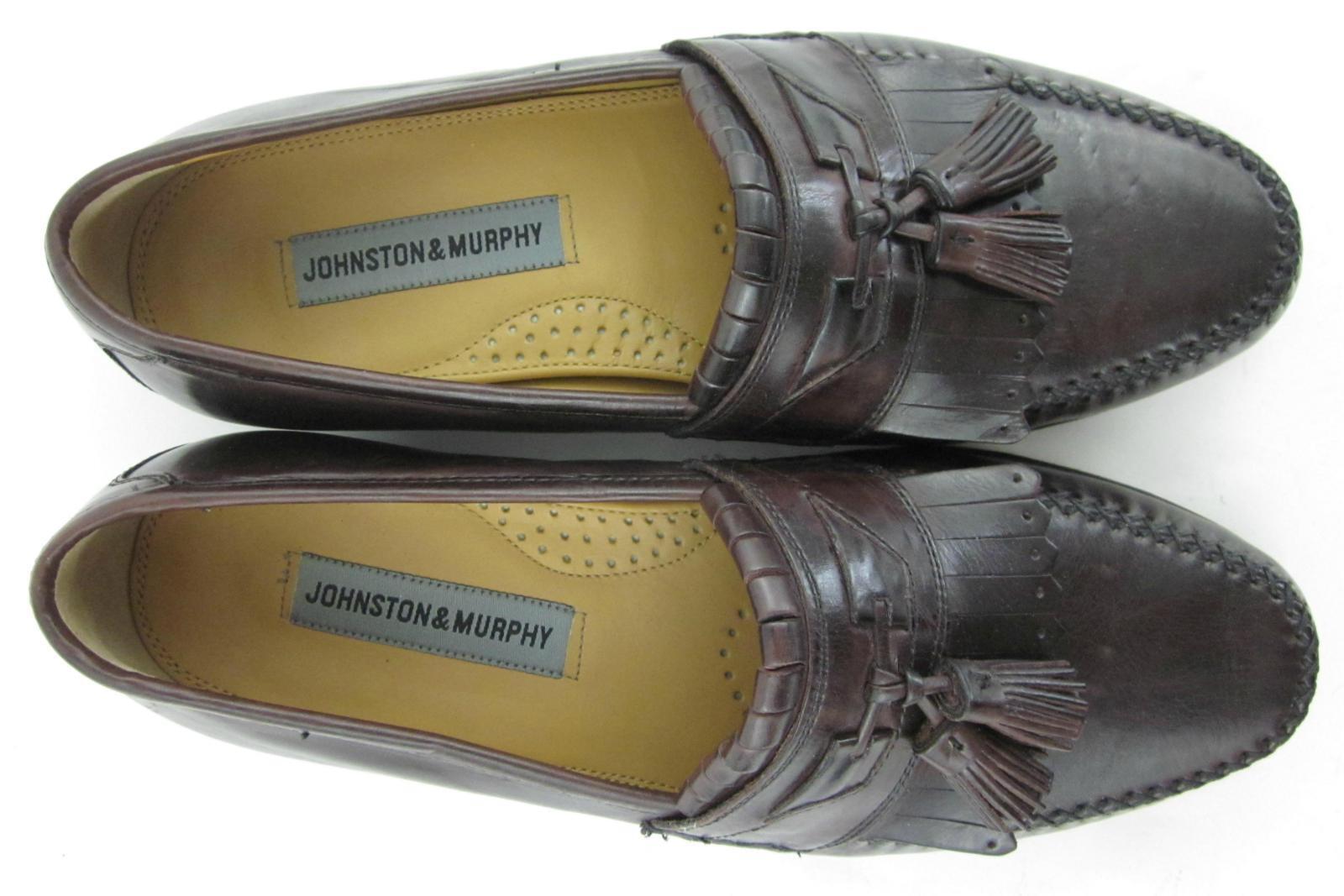 Johnston & Murphy 'Breland' Dark Kiltie Tassel Loafers Dark 'Breland' Burgundy 8.5W WIDE 658bab