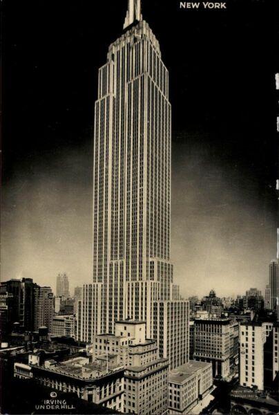 Postkarte Ansichtskarte Farbig Ak Gelaufen Empire State Building New York Usa Dauerhafte Modellierung