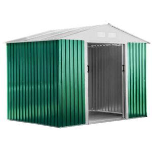 Box Casetta in lamiera da giardino esterno verde zincata 261x181x198cm BASIC L