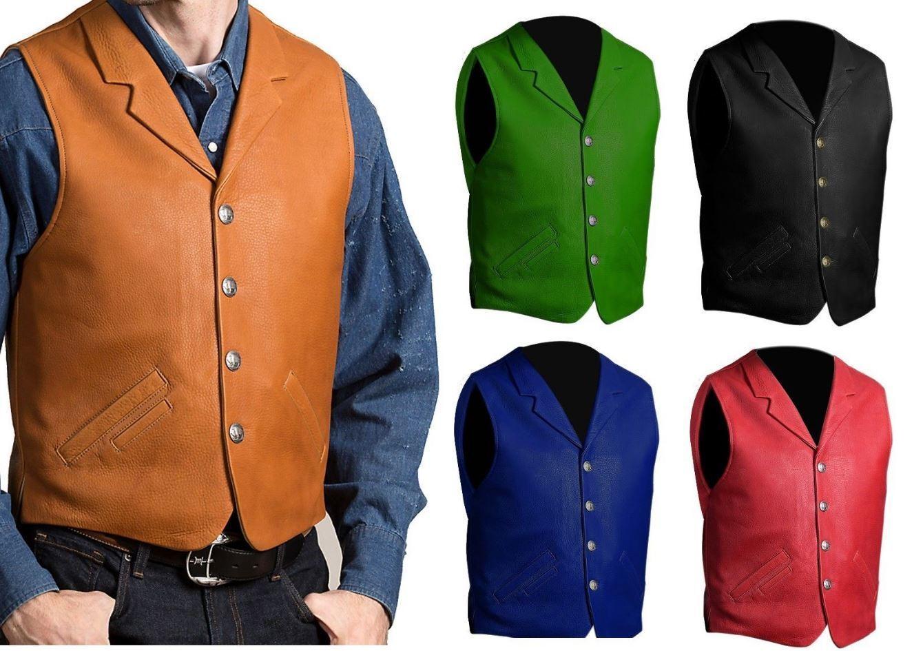Men's Motorcycle Vintage Style Waistcoat Real Leather Cow Hide Biker Vest