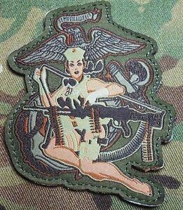 DESERT MARINE PIN UP BADGE USMC MORALE MULTICAM VELCRO ...