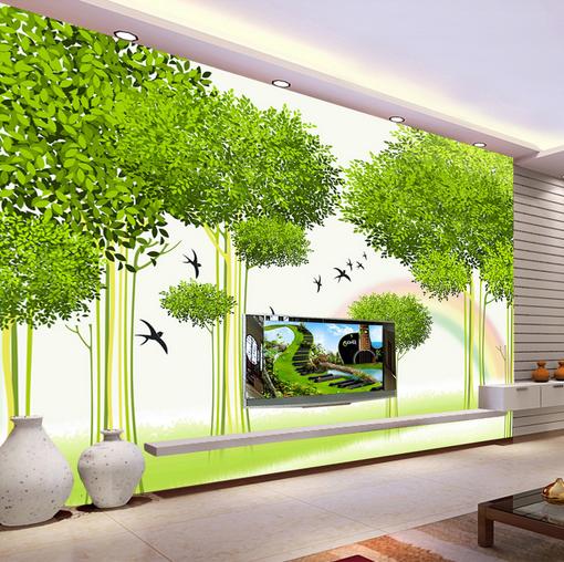3D Grün Trees Birds 7 Wall Paper Murals Wall Print Wall Wallpaper Mural AU Kyra