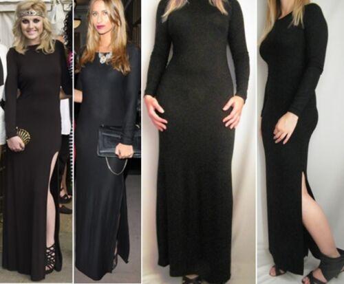Noir à Manches Longues Côté SPLIT Slit Maxi dress 6 8 10 12 14 16 Petite Reg Tall