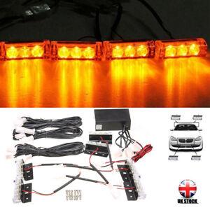 12V-Car-6-Amber-LED-Flashing-Grill-Strobes-Lights-Bar-Warning-Recovery-Breakdown