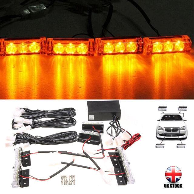 12V Car 6 Amber LED Flashing Grill Strobes Lights Bar Warning Recovery Breakdown