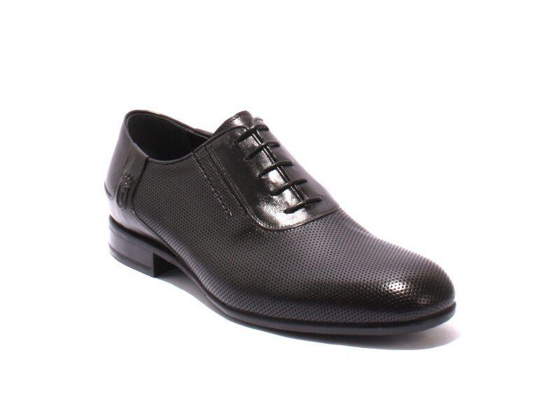 VINICIO CAMERLENGO 8011 Black Leather Lace-Up Classic Shoes 42 / US 9