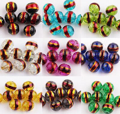 20/50Pcs Gilt Edge Crackle Art Crystal Glass Round Charm Beads Findings DIY 8mm