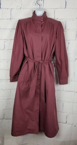 Zip Mauve Purple Long Fleece 14 in Størrelse Reg London Lining Fog Raincoat UCvtTO