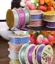 7x Colorful Lace Hollow Washi Paper Tape Sticky Adhesive Sticker 1.5cm x 10m