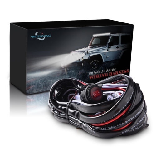 12ft 180W LED Light Bar Wiring Harness Kit 40A Relay Fuse Waterproof Red Switch