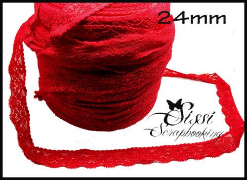 1M GALON DENTELLE ELASTIQUE ROUGE RED FLEUR SCRAPBOOKING COUTURE CARTE 24mm NEW