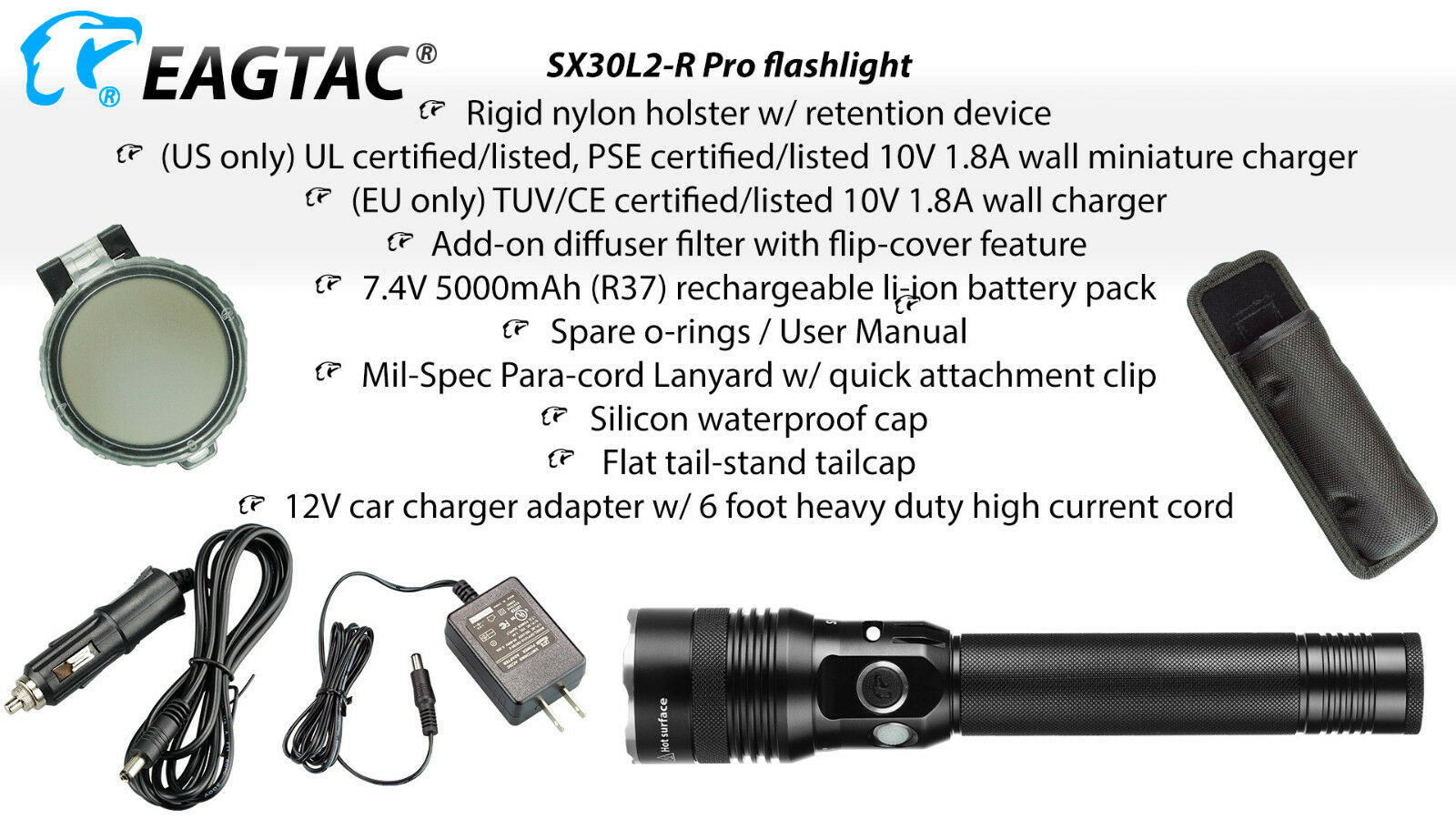 Eagletac Eagletac Eagletac SX30L2-R Pro Rechargeable Flashlight 2000 Lumen - CREE XHP35 HD E4 CW 8edd5b
