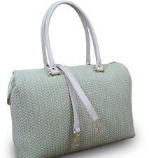 Made in Italy Luxus Designer Damen Henkeltasche Hobo Cube Leder geflochten Beige