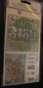 NEW-Hampton-Arts-Coloring-Clear-Stamps-Cling-11pc-Sun-Tree-House-Flowers-You-Are