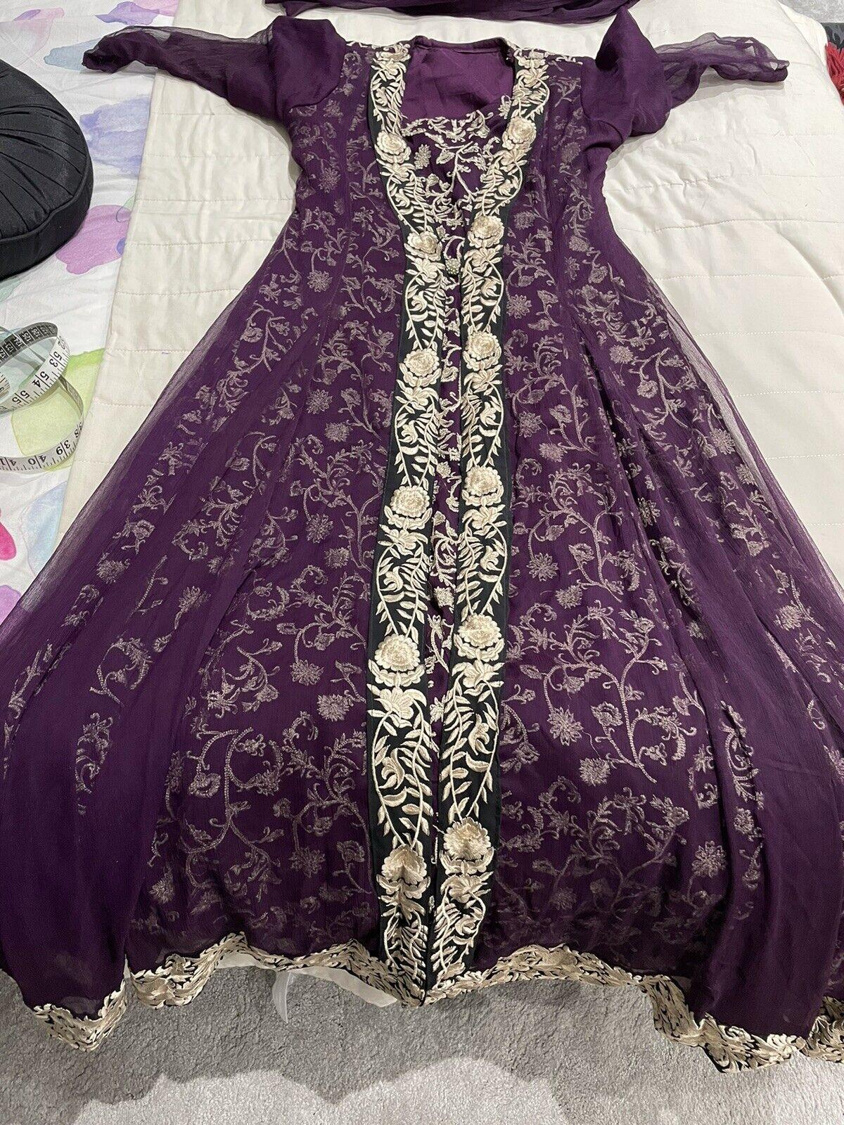 Indian Pakistani Anarkali Wedding Purple Size 8