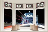 Huge 3D Bay Window London Tower Bridge View Wall Stickers Wallpaper Mural 794