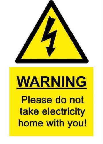 A5 comédie Workplace électricité Autocollant-déversement Hazard accident SIGNE choc
