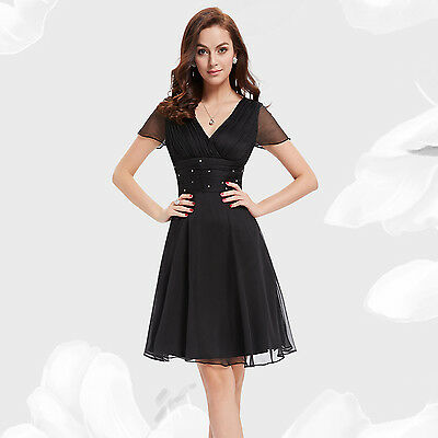 Ever Pretty Casual Short Sleeve V Neck Ruched Chiffon Party Cocktail Dress 03882