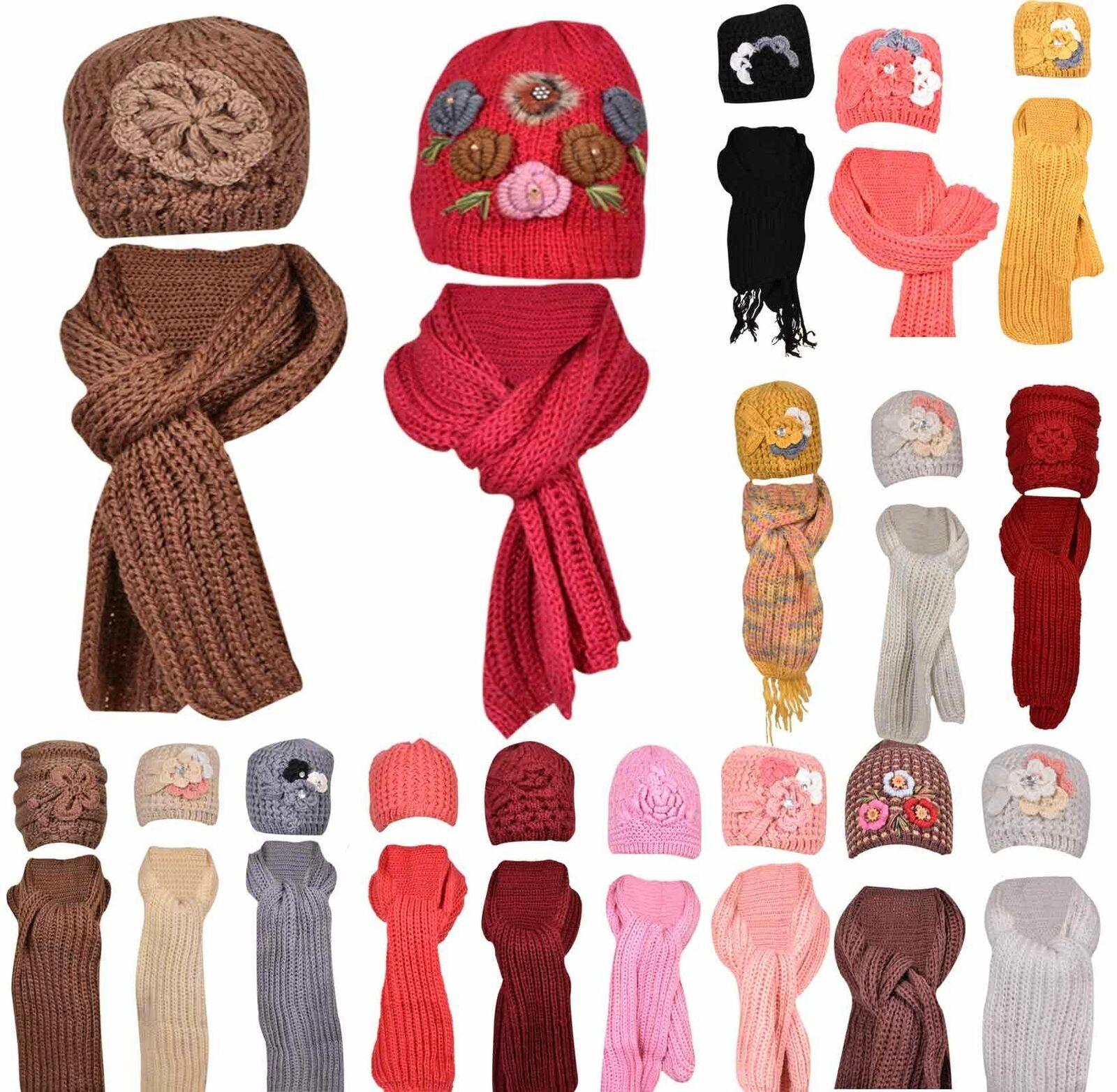 Ladies Hat & Winter Warmer Set Wooly Heat Cable Knit Cap Causal Woollen Scarf