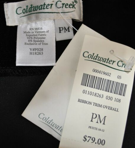 NWT Coldwater Creek Black Velvet Gold Trim Overalls Jumpsuit