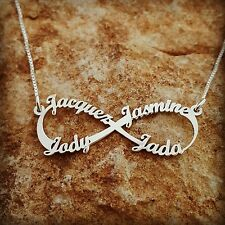 Christmas Gift, personalized name necklace, infinity family 4 name necklas /