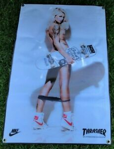 Thrasher-Revista-Patin-Grueso-Lienzo-Banner-Nike-Vintage-Zapatos-Poster-B3