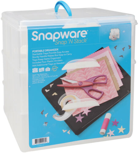 """Snapware Snap /'N Stack Craft Organizer Large Square 3 Layers-14/""""X12.5/""""X13/"""""""