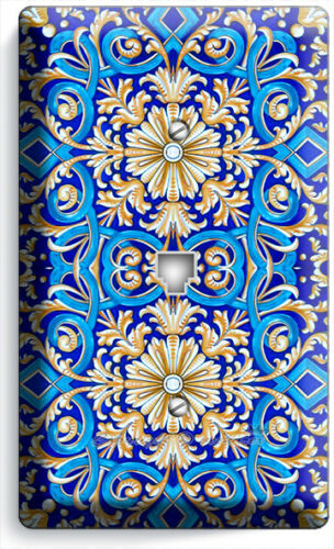 BLUE ITALIAN HAND PAINTED TILE LOOK LIGHT SWITCH OUTLET WALL PLATE KITCHEN DECOR