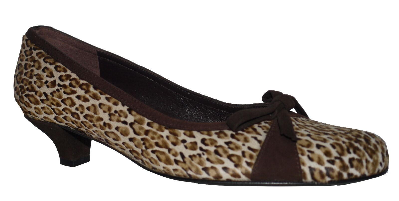 Martinez Valero Pony Schuhes Hide Leopard Print Niedrig Heel Court Schuhes Pony Various Größes NIB ba6a32