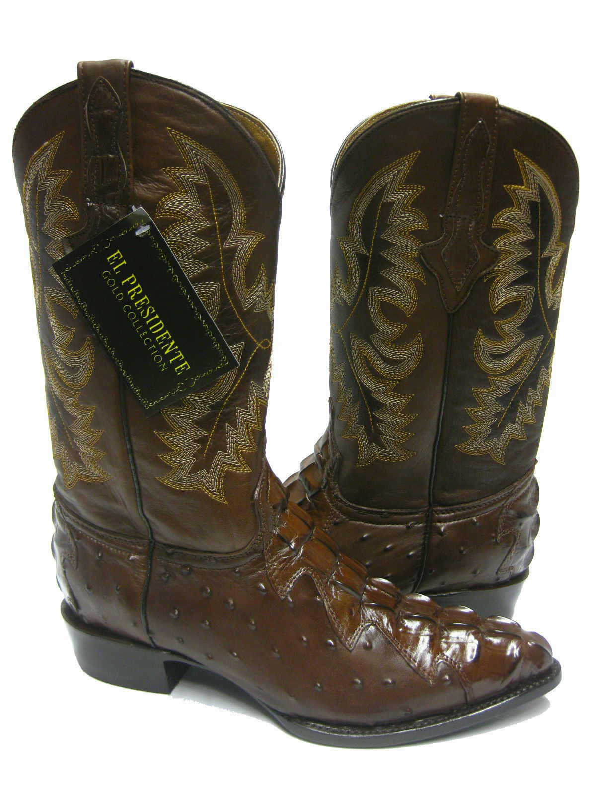 Mens Brown Detailed Ostrich & Crocodile Tail Cowboy Boots J Toe Rodeo