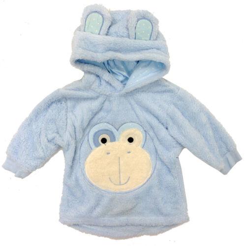 Boys fleece pullover hoodie monkey print polycotton light blue age 2-3 3-4 4-5