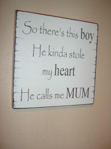 Shabby Vintage Chic maman et son fils Boy Signe Plaque Cadeau Anniversaire Mère SIGNE