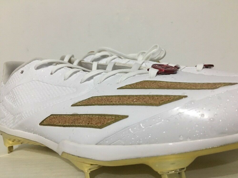 0118c34db adidas Adizero Afterburner 3 Baseball Cleats BY3176 White Gold Cork Sz 10  for sale online