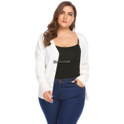 Women/'s V-Neck Long Sleeve Button Down Basic Slim Cardigan Sweater Plus EHE8