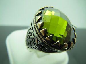 Turkish Handmade Jewelry 925 Sterling Silver Peridot Stone Men/'s Ring Sz 11