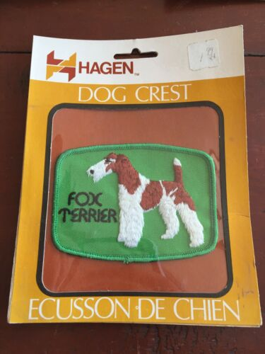 """Vtg Hagen Fox Terrier Sew On Embroidered 4"""" Patch Badge Dog Breed Crest NOS NEW"""