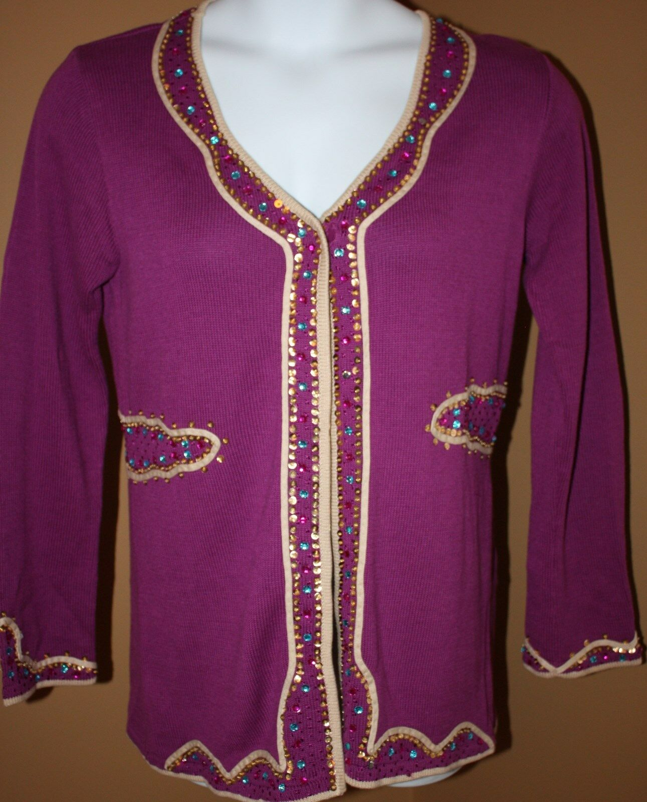 STORYBOOK KNITS Magenta Beaded EASTERN OPULENT LS Sweater M