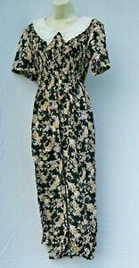 Vintage-Karin-Stevens-Midi-Shift-Dress-size-8-Black-Floral-India-Rayon-80s-90s