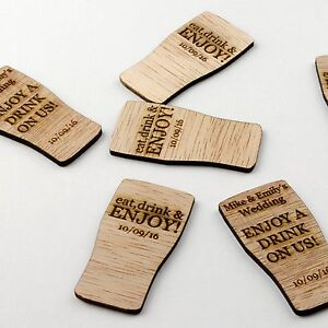 Personalised Rustic Wooden Drink Tokens Wedding Favours Vintage Voucher - Pint