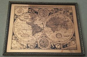 A-NEW-AND-ACCVRAT-MAP-OF-THE-WORLD-Framed-Etch-Lithograph-Map-Picture