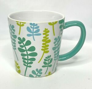 Coffee Mug Green Blue Fern Leaves Nature Print Ceramic Retro 12 oz