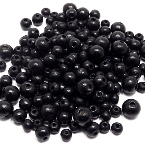 10mm 250pcs Lot of Beads wooden Mixture Black sizes 6-8