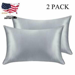 Silk Satin Pillowcase 2 Pack Pillow Cases Queen King