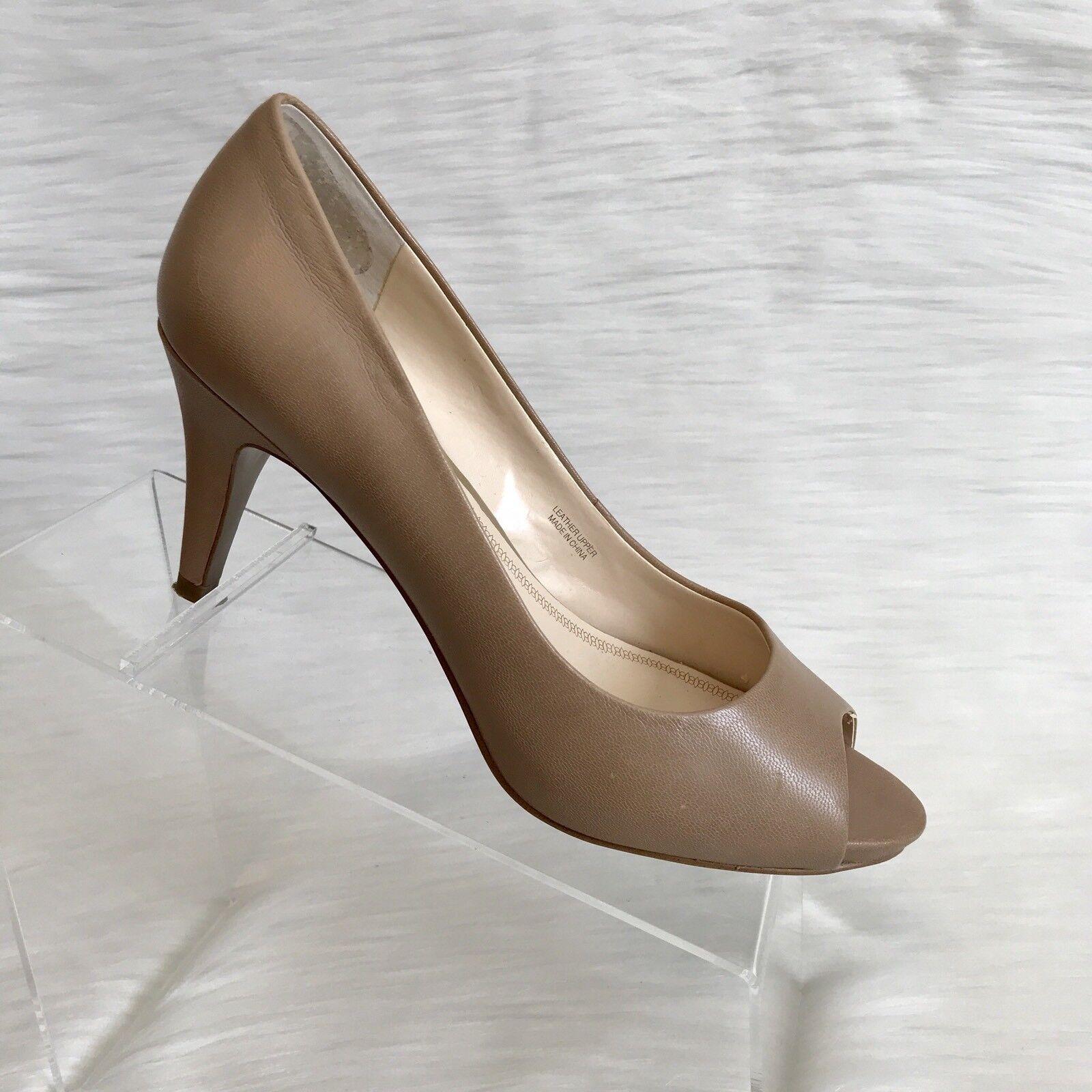Tahari women's pumps size 8 M Tan Leather  Peep Toe Heels