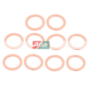 10 Pcs 32mm x 24 mm x 2 mm Flat Ring Copper Crush Washer Sealing Gasket Fastener